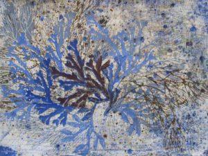 Malet og trykt på papir med casein og farvepigment